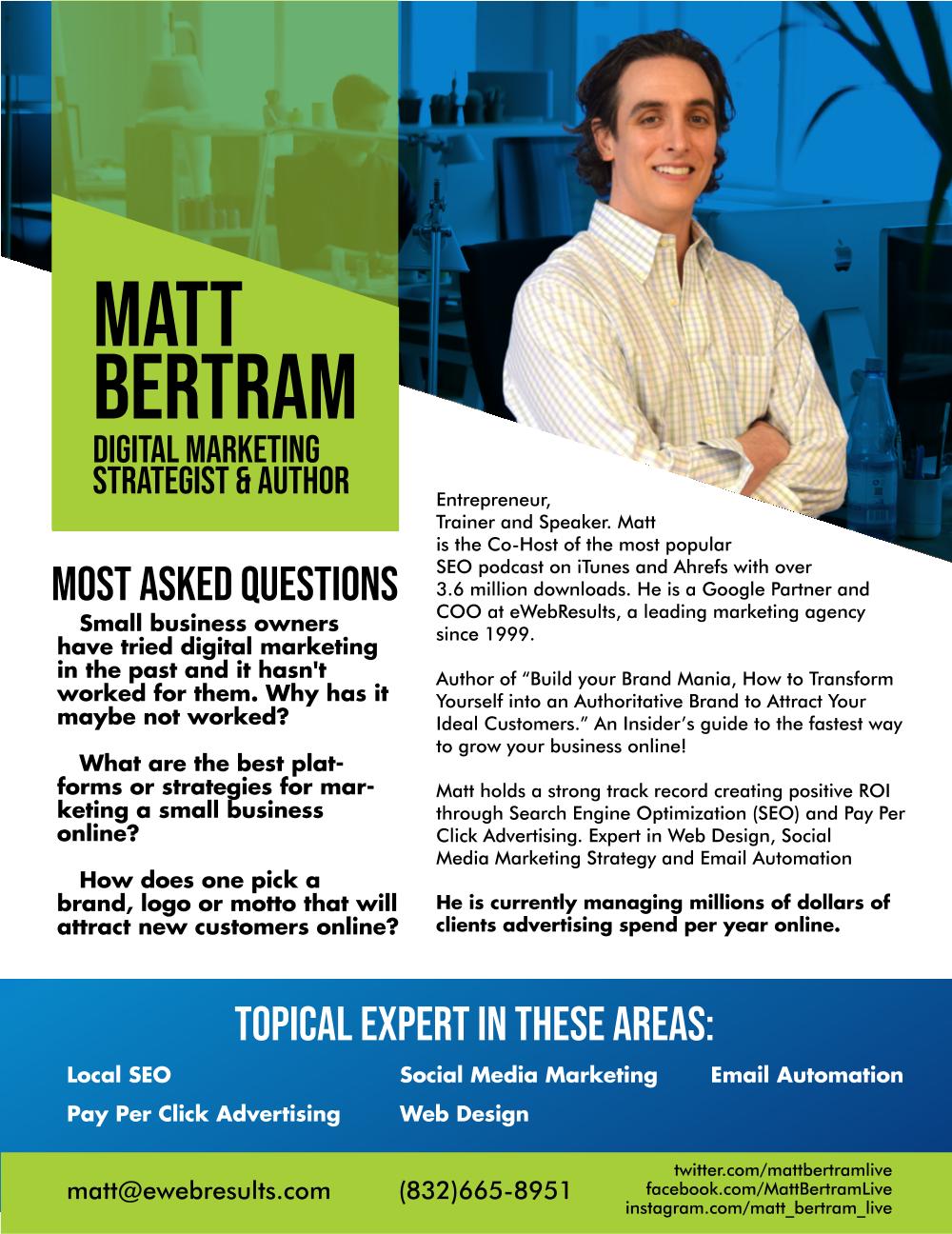 Matt Bertram, Digital Marketing SEO Expert & Author - Radio Guest
